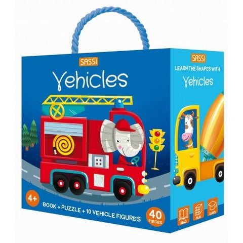 Sassi - 3D Puzzle and Book Set - Learn Shapes Vehicles
