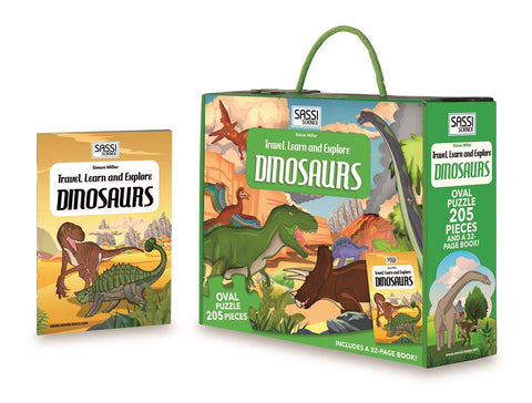 Sassi - Travel Learn and Explore Puzzle & Book Set - Dinosaurs