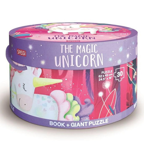 Sassi - Unicorn Book and Giant Puzzle Set, 30 pcs