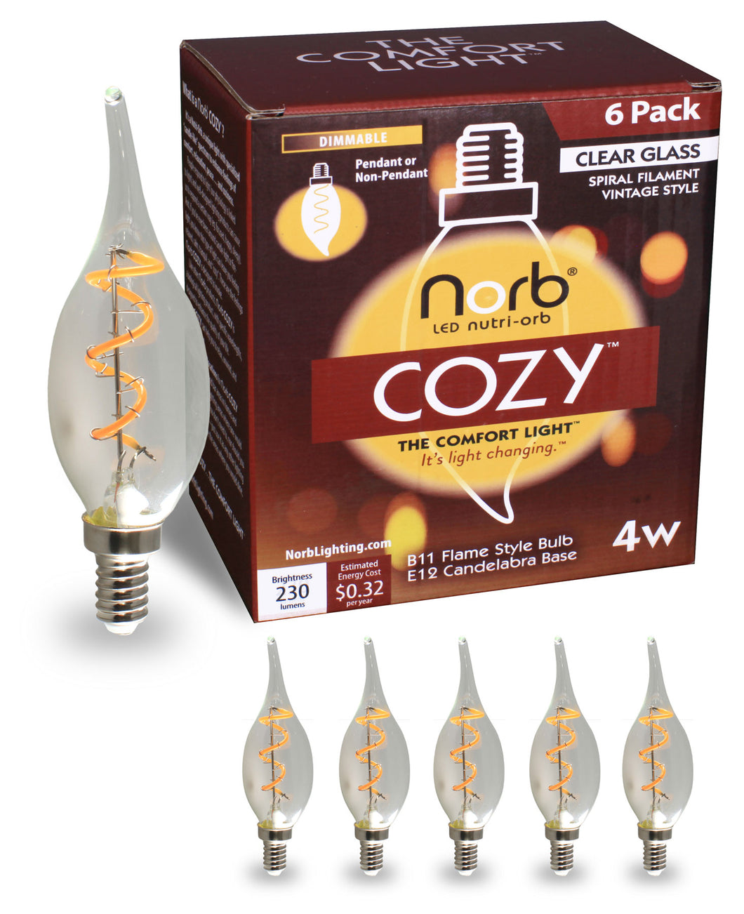 NorbCOZY Candelabra Flame (B11 Flame)