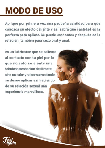 Modo de uso lubricante chocolate FEEL AGAIN PRIMMAVERA