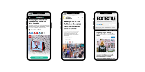 Image of mobile phones displaying news stories on unsustainable fashion and fast fashion