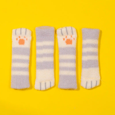 Cat Paw Chair Socks (4 Pack)Light Gray Striped
