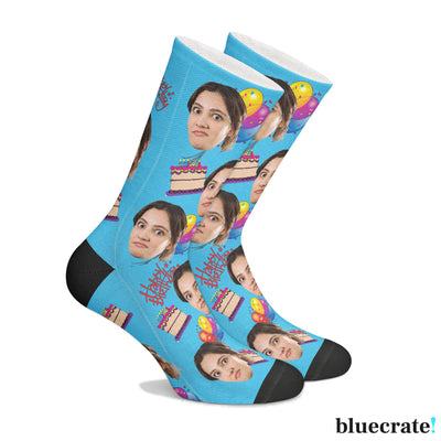 Customizable Birthday Face SocksBlue 1 Pair
