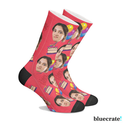 Customizable Birthday Face SocksRed 1 Pair