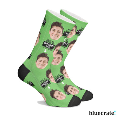 Customized Awesome Dad SocksGreen 1 Pair