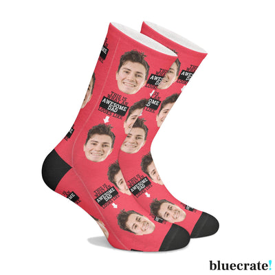 Customized Awesome Dad SocksRed 1 Pair