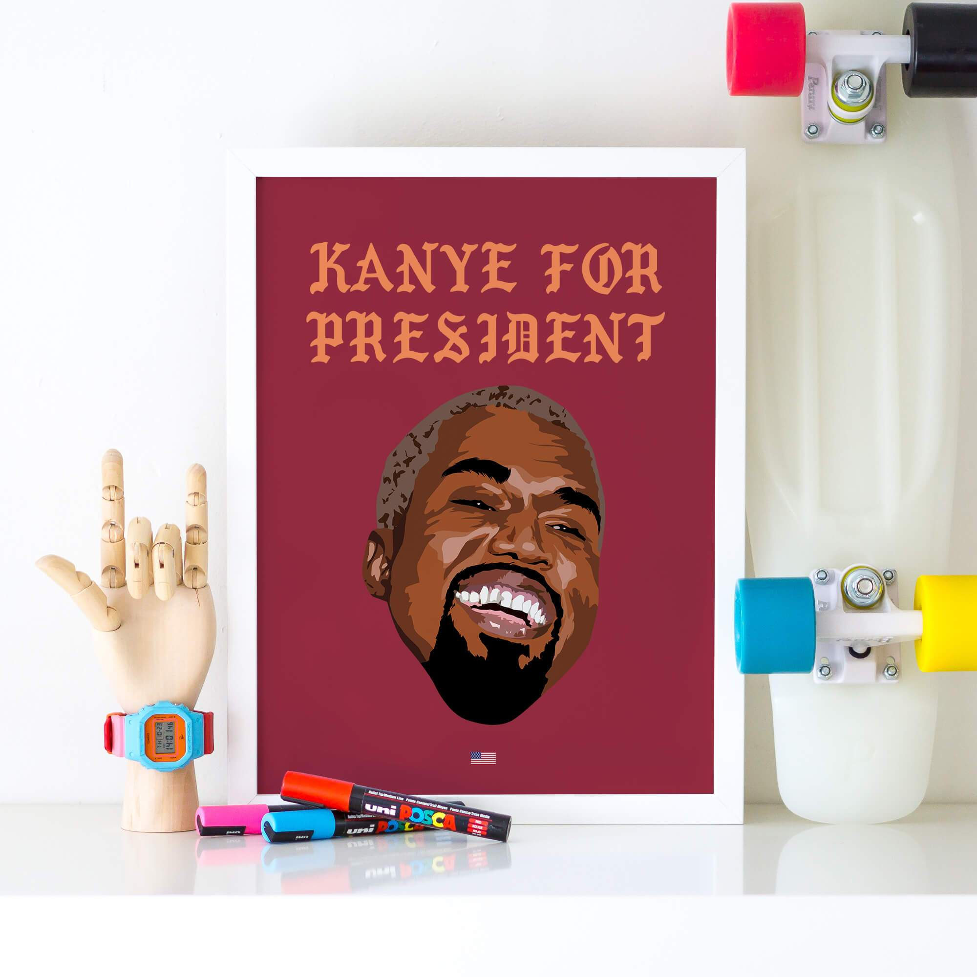 Kanye For President Poster - Happy KanyeA4 Unframed