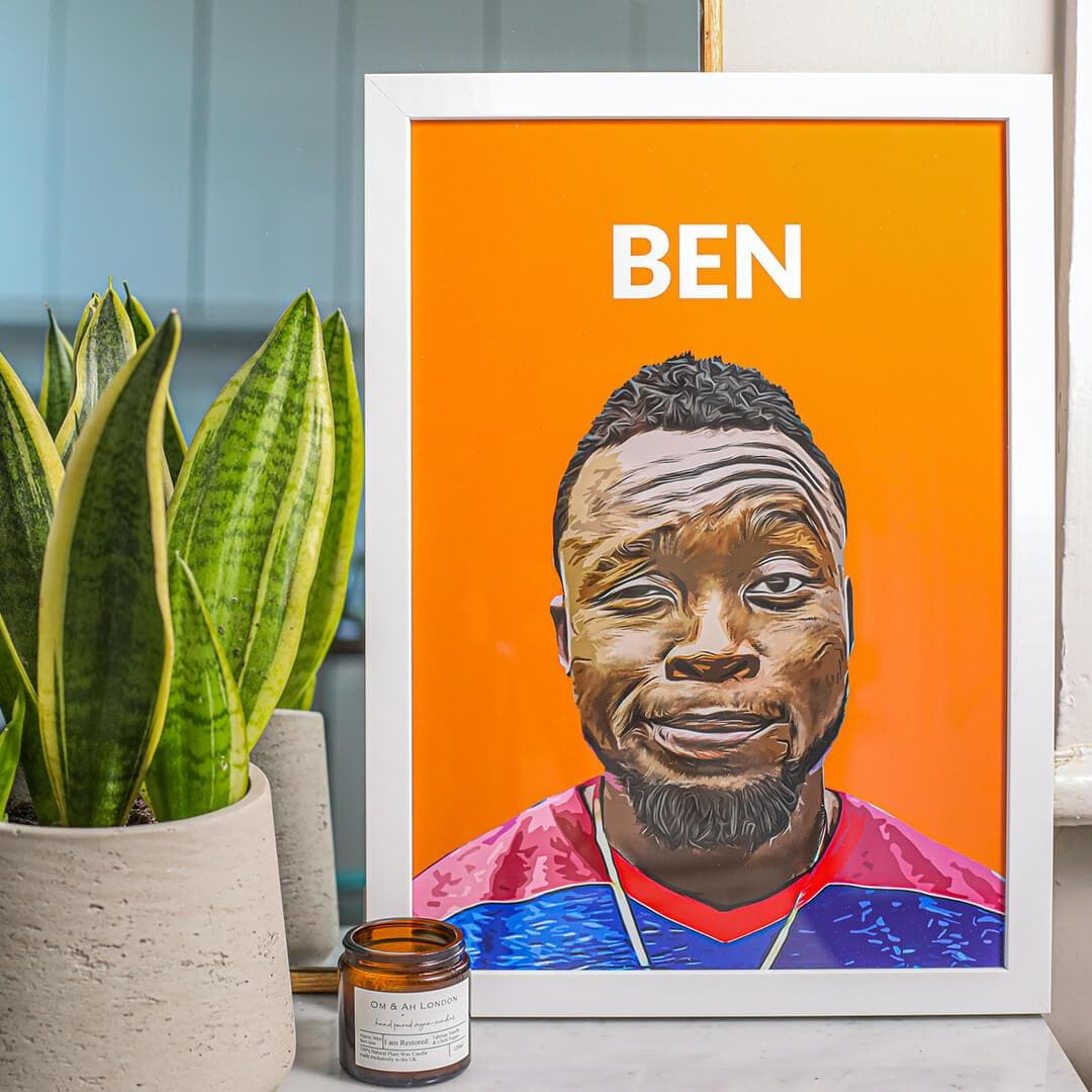 Personalisable Portrait PosterA4 Orange No Frame