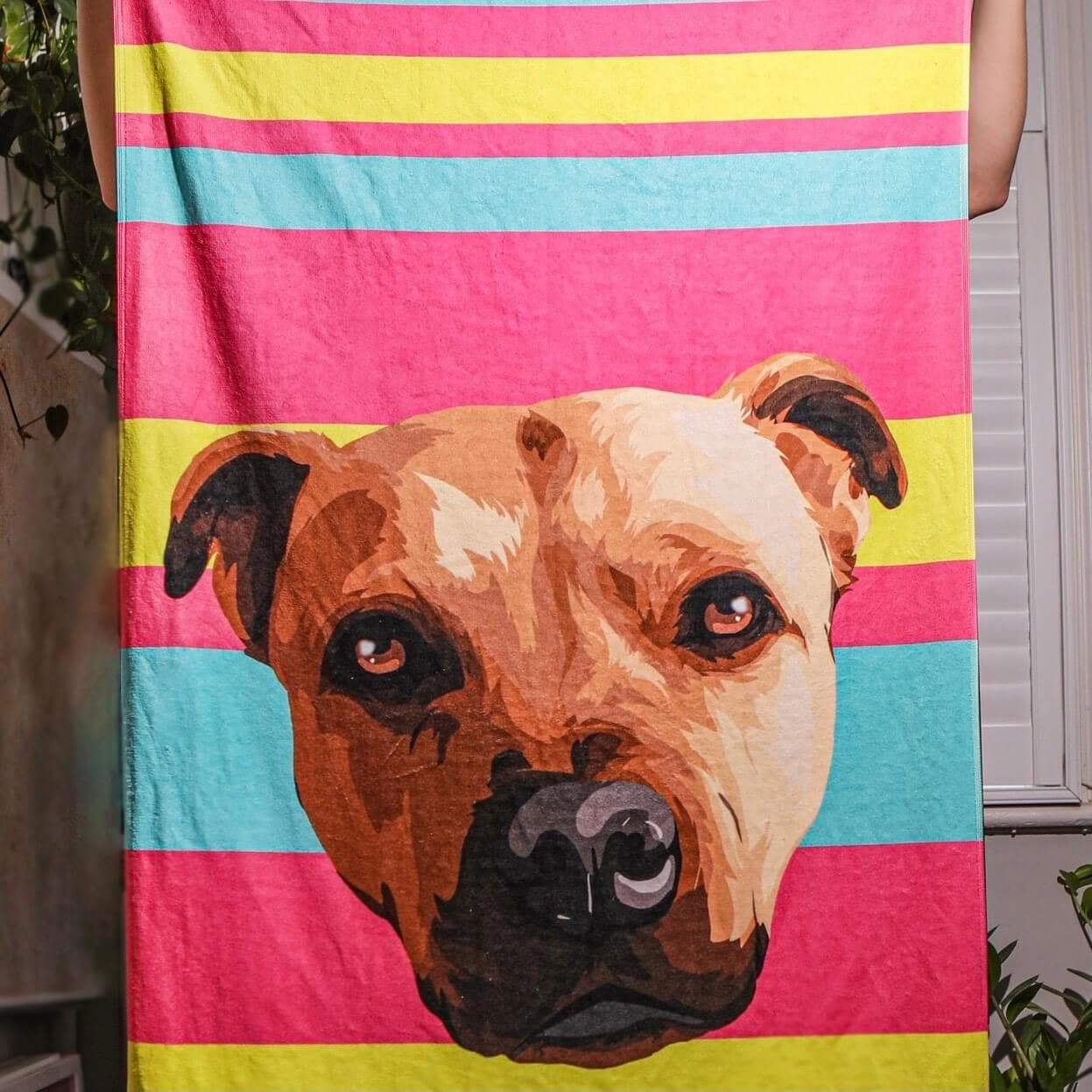 Personalised Pet Face Beach Towel