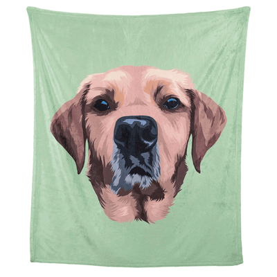 Personalised Pet Face BlanketGreen