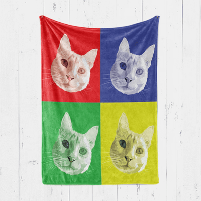 Personalised Pet Blanket hanging on the wall, with a festival design