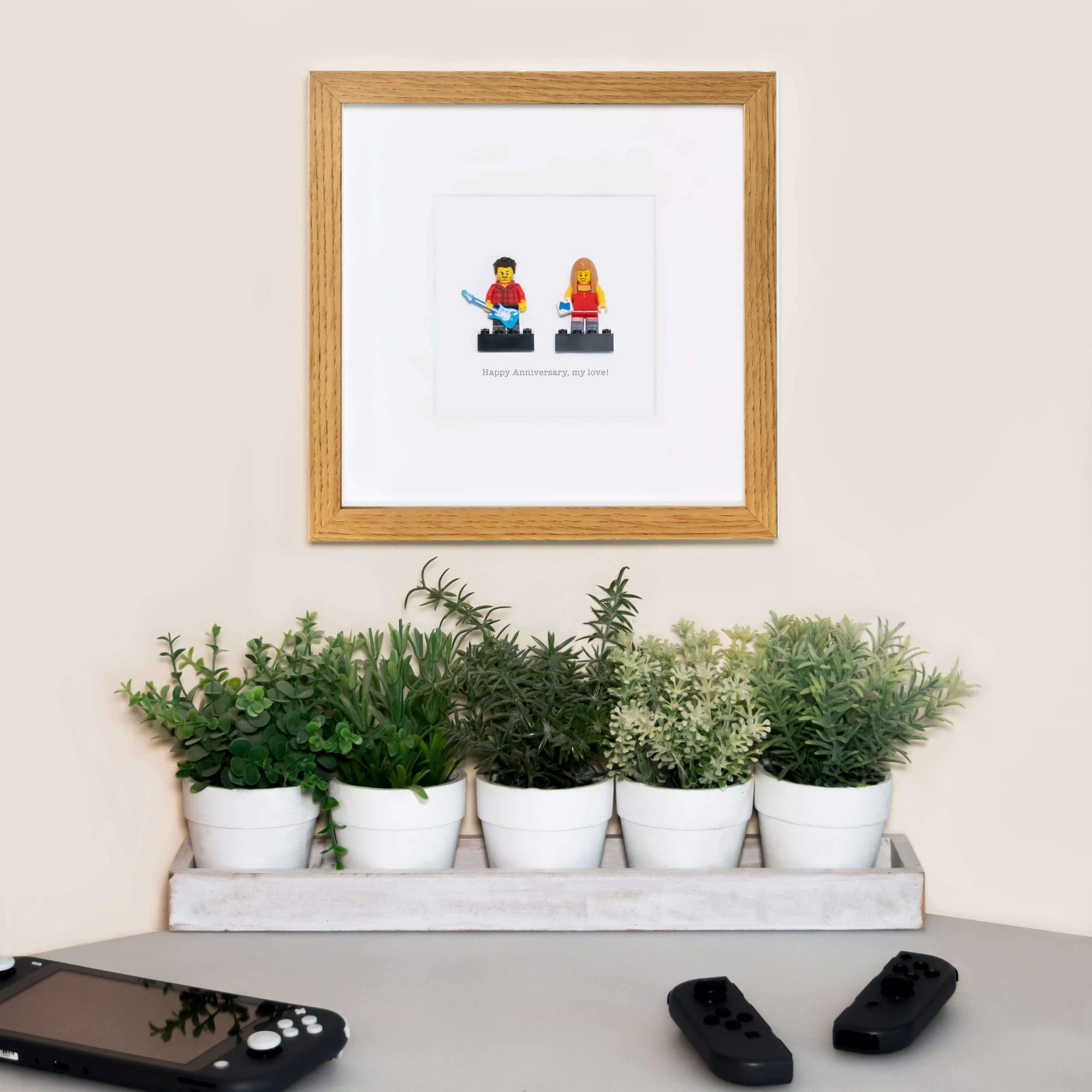 Plastic People - Personalised Mini Brick Figure in Frame2 Figures