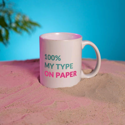 Vibey MugsWhite Mug 100% my type on paper