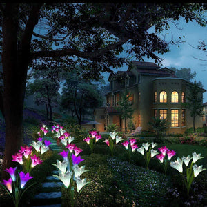 Outdoor Solar Garden Stake Lights,Solar Powered Lights with Lily Flowers,