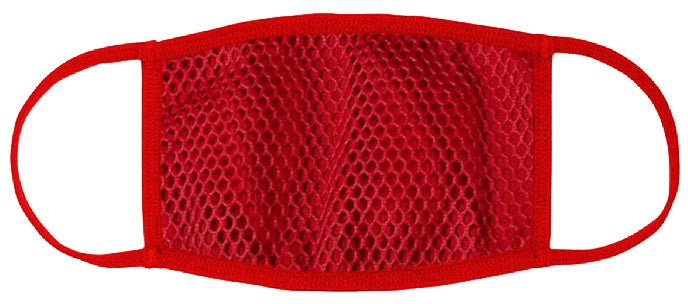ADULT SIZE - Red Mesh Overlay Face Mask - Washable & Reusable - IN STOCK
