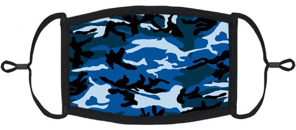 YOUTH SIZE -  Blue Camo Fabric Mask - Washable & Reusable - IN STOCK