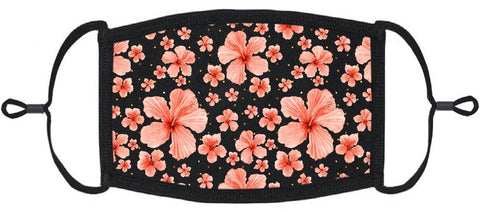 ADULT SIZE - Coral Hibiscus Fabric Face Mask - Washable & Reusable - IN STOCK
