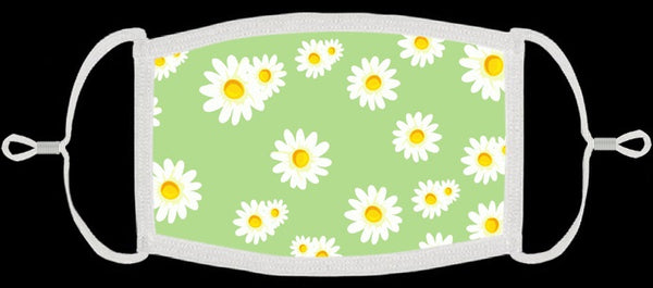 ADULT SIZE - Green w/Daisies Fabric Face Mask - Washable & Reusable - IN STOCK
