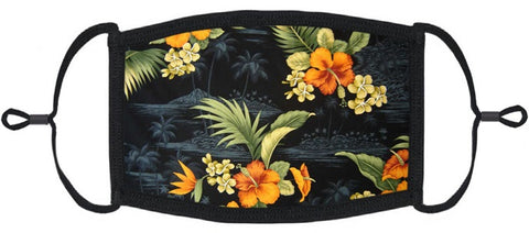 ADULT SIZE - Hawaiian Floral Fabric Face Mask - Washable & Reusable - IN STOCK