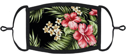 ADULT SIZE - Hawaiian Hibiscus Fabric Face Mask - Washable & Reusable - IN STOCK