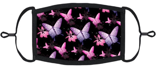 ADULT SIZE - Pink & Purple Butterflies Fabric Face Mask - Washable & Reusable - IN STOCK