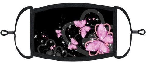 ADULT SIZE - Pink Butterfly Fabric Face Mask - Washable & Reusable - IN STOCK