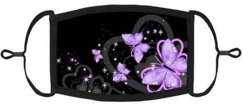 ADULT SIZE - Purple Butterfly Fabric Face Mask - Washable & Reusable - IN STOCK