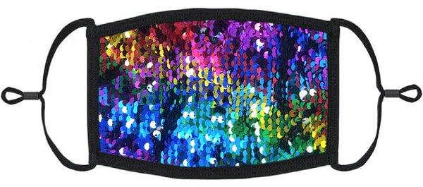 ADULT SIZE - Multi Sequin Fabric Face Mask - Washable & Reusable - IN STOCK
