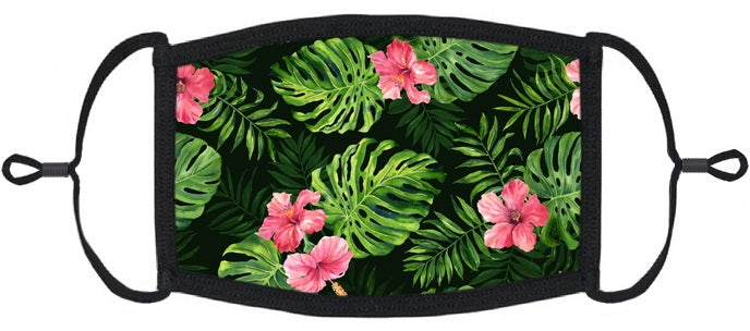 ADULT SIZE- Tropical Hibiscus Fabric Face Mask - Washable & Reusable - IN STOCK