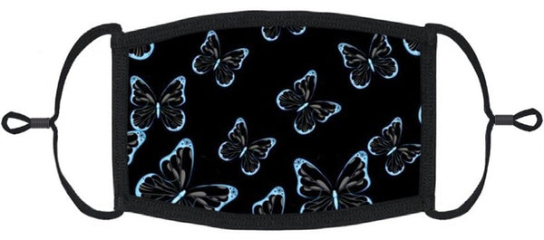 ADULT SIZE - Blue Butterflies Fabric Face Mask - Washable & Reusable - IN STOCK