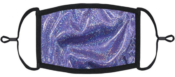 ADULT SIZE - Dark Purple Hologram Fabric Face Mask - Washable & Reusable - IN STOCK