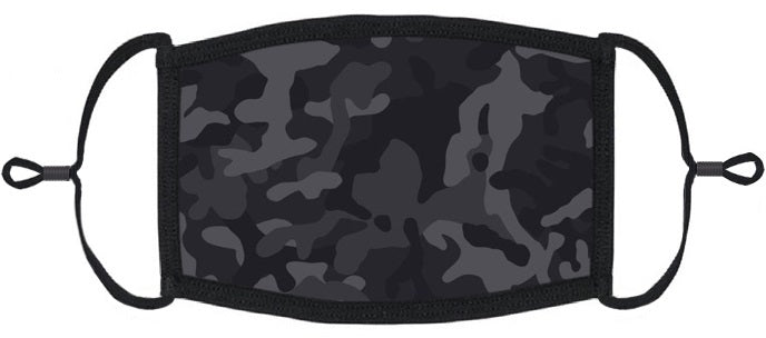 ADULT SIZE - Black Camouflage Fabric Face Mask - Washable & Reusable - IN STOCK