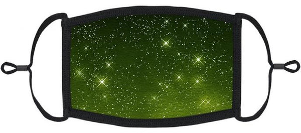 ADULT SIZE - Green Galaxy Fabric Face Mask - Washable & Reusable - IN STOCK