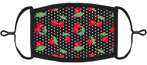 ADULT SIZE - Pin-Up Cherry Fabric Face Mask - Washable & Reusable - IN STOCK