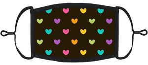 YOUTH SIZE - Adjustable Ear Loops - Rainbow Hearts Fabric Face Mask - Washable & Reusable - IN STOCK