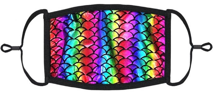 ADULT SIZE - Rainbow Mermaid Fabric Face Mask - Washable & Reusable - IN STOCK