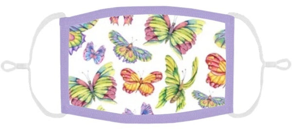 YOUTH SIZE - Pastel Butterflies Fabric Face Mask - Washable & Reusable - IN STOCK