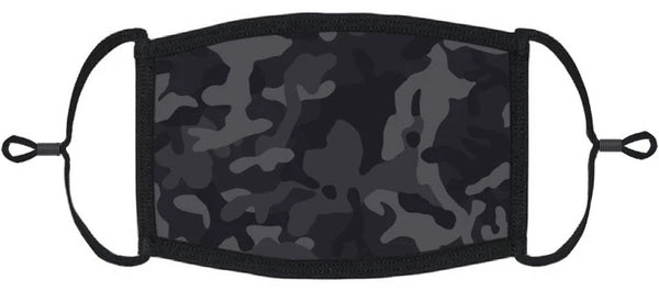 YOUTH SIZE - Black Camouflage Fabric Face Mask - Washable & Reusable - IN STOCK