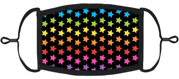 YOUTH SIZE - Rainbow Stars Fabric Face Mask - Washable & Reusable - IN STOCK