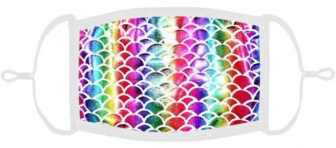 YOUTH SIZE - Rainbow Mermaid Fabric Face Mask - Washable & Reusable - IN STOCK
