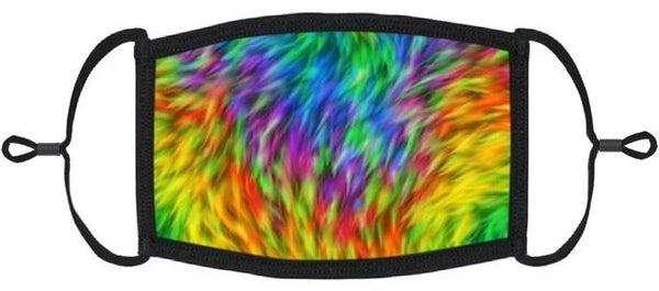 YOUTH SIZE - Neon Tie Dye Fabric Face Mask - Washable & Reusable - IN STOCK