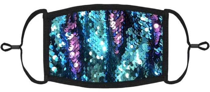 ADULT SIZE - Teal/Purple Flip Sequin Fabric Face Mask - Washable & Reusable - IN STOCK