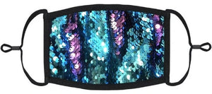 YOUTH SIZE - Teal/Purple Flip Sequin Face Mask - Washable & Reusable - IN STOCK
