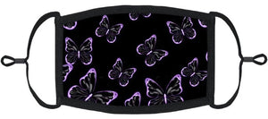 YOUTH SIZE - Purple Butterflies Fabric Mask- Washable & Reusable - IN STOCK