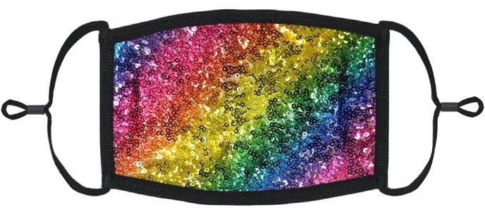 LITTLE KIDS SIZE - Adjustable Ear Loops - Rainbow Sequins Fabric Mask - Washable & Reusable - IN STOCK