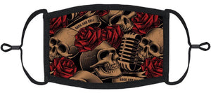 ADULT SIZE - Skulls & Roses Fabric Face Mask - Washable & Reusable - IN STOCK