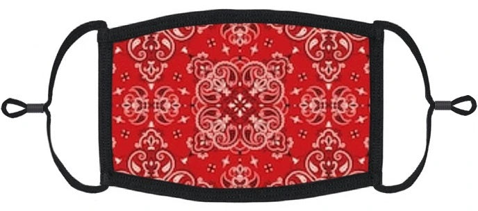 YOUTH SIZE - Red Bandana Fabric Mask- Washable & Reusable - IN STOCK