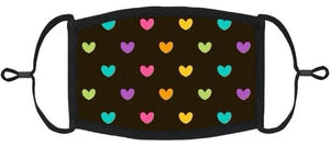LITTLE KIDS SIZE - Adjustable Ear Loops - Rainbow Hearts Fabric Mask - Washable & Reusable - IN STOCK