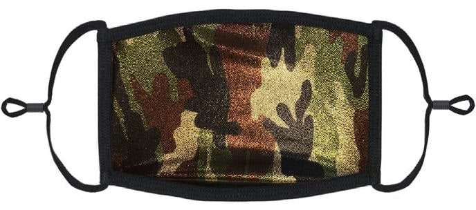 ADULT SIZE - Camo Glitter Hologram Fabric Face Mask - Washable & Reusable - IN STOCK